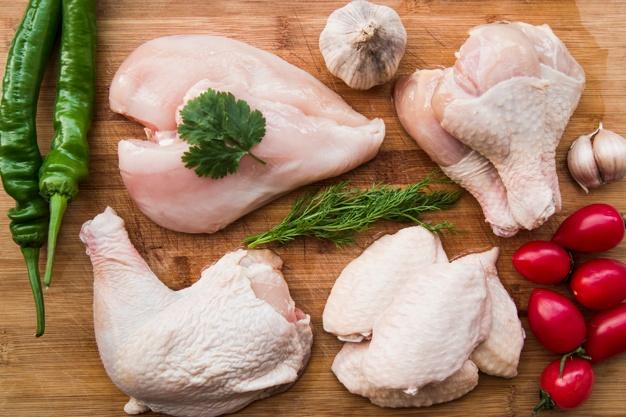 السعرات الحرارية في الدجاج بأجزاءه المختفة